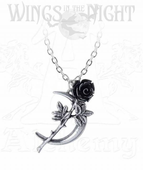 ALCHEMY GOTHIC New Romance Moon & Rose Pendant Necklace